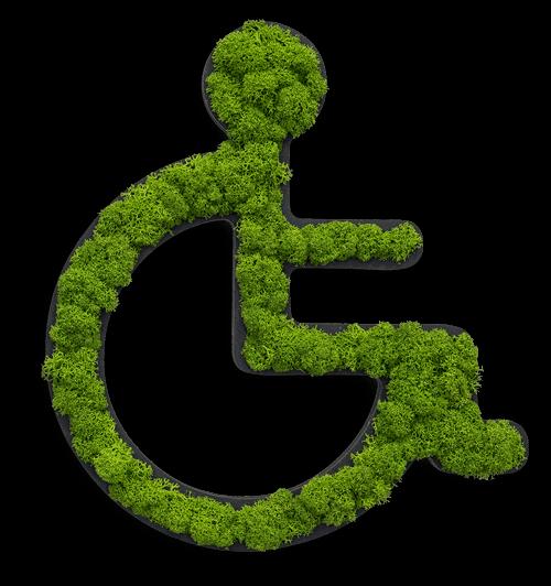Islandmoos-Toilettenpiktogramm Rollstuhlfahrer